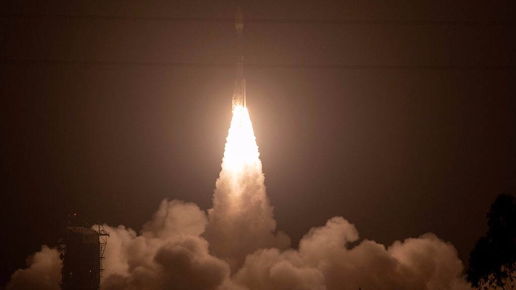 Nasa laser launches into space