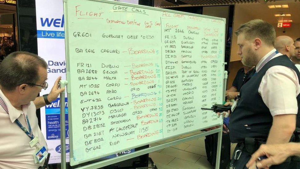 Whiteboards used as Gatwick flight information screens fail
