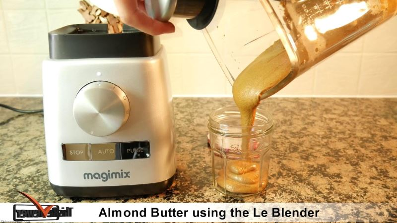 making almond butter with a blender