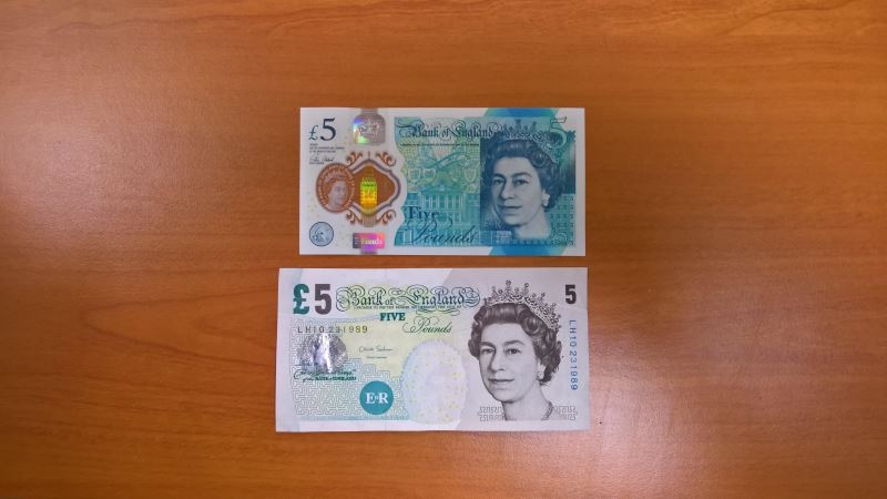 new five pound note is smaller than the old one